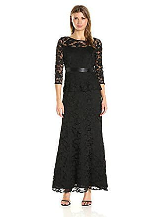 Chetta B Womens 3/4 Sleeve Lace Peplum Magic Wasit Gown w/Satin Ribbon Belt, Black, 6