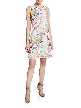 Iconic American Designer Floral Pattern Chiffon Trapeze Dress