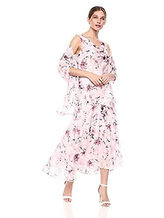 Alex Evenings Womens Petite Tea Length Printed Chiffon Dress with Shawl, Blush Multi, 10P