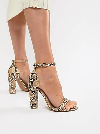 ed1993a128fc Asos Wide Fit Highball barely there heeled sandals in snake - Multi