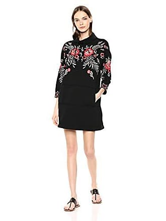 Johnny Was Womens Embroidered Sweatshirt Tunic Dress, Black, S