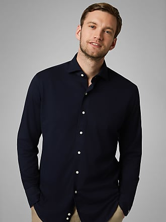 Boggi Milano polo camicia blu navy collo chiuso regular fit