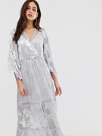 3ab409b61ce BA SH Vianca - Robe longue scintillante à manches kimono - Argenté