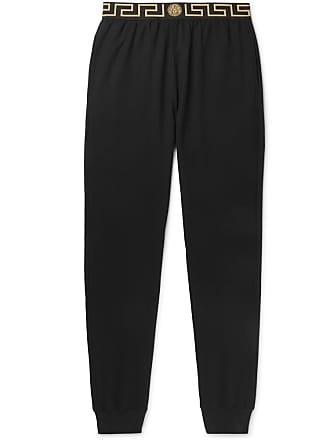 Versace Tapered Logo-jacquard Stretch-cotton Jersey Sweatpants - Black