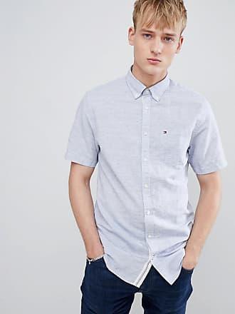 Tommy Hilfiger Blåmelerad kortärmad skjorta med button down-krage e719c64d95640