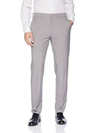 Haggar Mens Premium Comfort Stretch Slim Fit Dress Pant, Grey, 32Wx36L