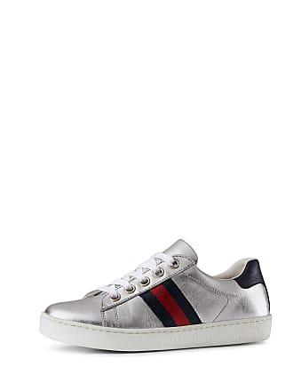 baaef9432bd Gucci New Ace Metallic Leather Web Sneakers