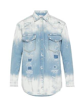 Faith Connexion Painted And Distressed Denim Shirt - Mens - Indigo