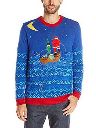 Blizzard Bay Mens Santas Gone Fishin Light up Ugly Christmas Sweater, Blue/Red, Medium
