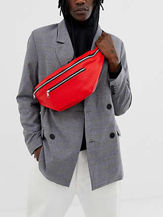 a4a192f7eb Asos Grand sac banane à bandoulière en imitation cuir avec fermeture éclair  - Rouge - Rouge
