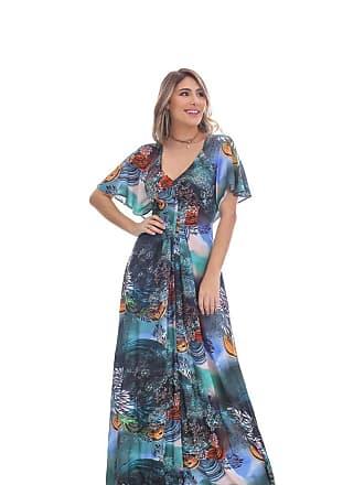 Clara Arruda Vestido Clara Arruda Decote V Estampado 50356 - G - Azul