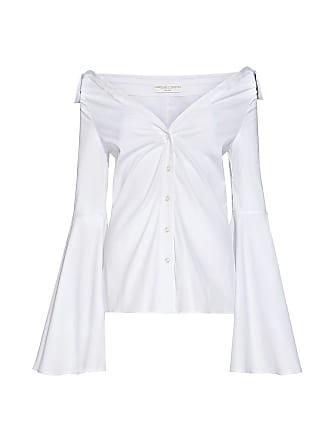 Caroline Constas Persephone Bell Sleeve Off the Shoulder Shirt White
