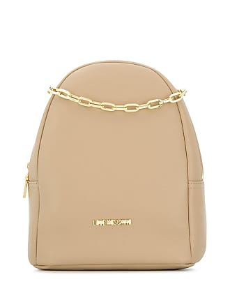 Love Moschino logo plaque backpack - Neutrals