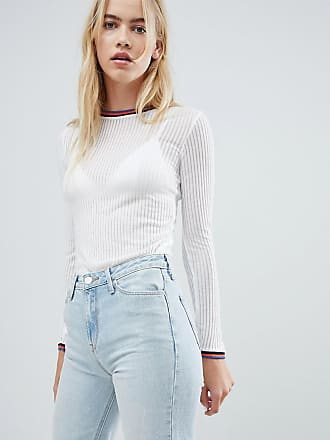 Lee Ribbed Long Sleeve Top with Sports Neckline - White