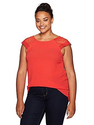 dbe414ae560b81 Junarose Womens Plus Size Short Sleeve Lace Blouse, High Risk Red 18W