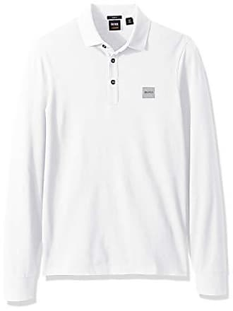 4aa44d7266c HUGO BOSS BOSS Orange Mens Passerby Long Sleeve Polo with Chest Logo Patch,  White,