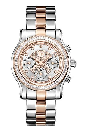 Zales Ladies JBW Laurel 1/10 CT. T.W Diamond and Crystal Accent 18K Two-Tone Gold Plate Watch (Model: J6330D)