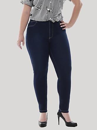 Sawary Calça Jeans Feminina Sawary Cigarrete Plus Size Azul Escuro