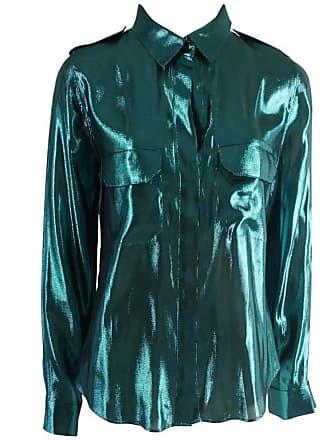 2a2f5816ab Lanvin Metallic Teal Silk Lame Button Down Shirt - 38