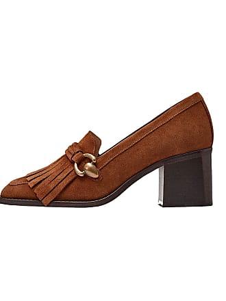 d070369b166393 MASSIMO DUTTI Womens Tan Split Suede Kiltie Court Shoes 1350 021 (9 UK)