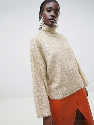 Selected femme tinsel roll neck sweater - Gold