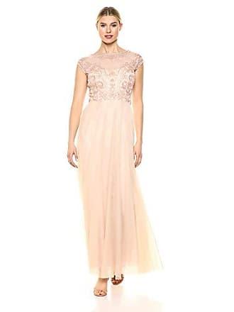 Marina Rossini Womens Illusion Cap Sleeve Beaded Boice Gown, Shell, 8