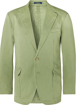 Polo Ralph Lauren Green Slim-fit Unstructured Brushed Cotton-blend Twill Blazer - Green