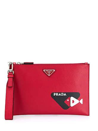 d38b3931edf Prada printed Saffiano leather pouch - Red