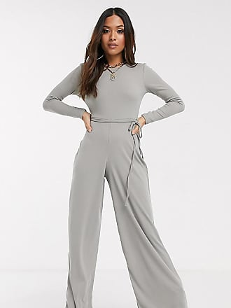 Missguided ribbed jumpsuit with tie waist in grey