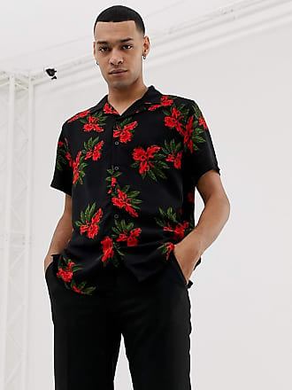 New Look revere collar shirt in red floral print - Red