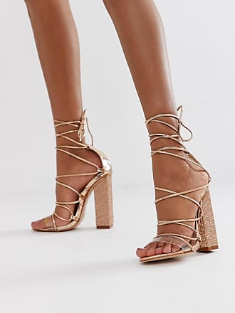 9fe2626fed Public Desire Sparkle rose gold diamante clear detail tie up heeled sandals