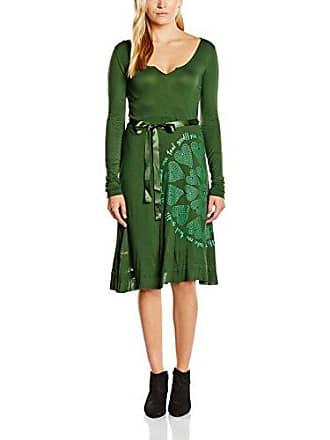 f5642788e0ff4 Desigual Carolina - Robe - Trapèze - Imprimé - Manches longues - Femme -  Vert (