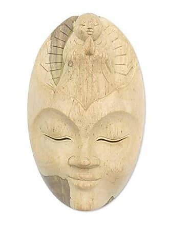 Novica Decorative Religious Hibiscus Wood Mask, Brown, Face Of Piety