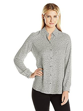 Foxcroft Womens Long Sleeve Random Dot Blouse, White, 10