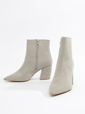 Qupid Qupid Block Heeled Ankle Boots - Gray