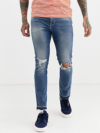 Asos skinny jeans in mid wash blue with rips