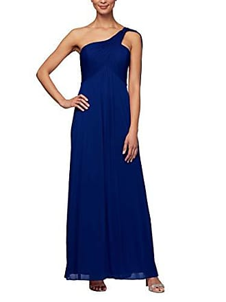Alex Evenings Womens Long One Shoulder Dress (Petite and Regular), Electric Blue, 18