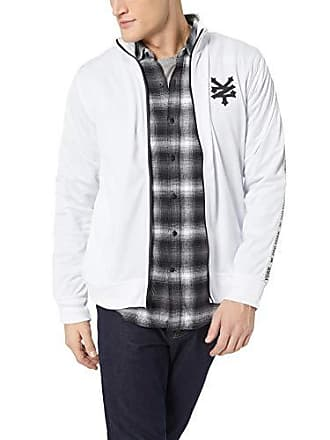 Zoo York Mens Jacquard Taped Zipper Jacket, White, Large