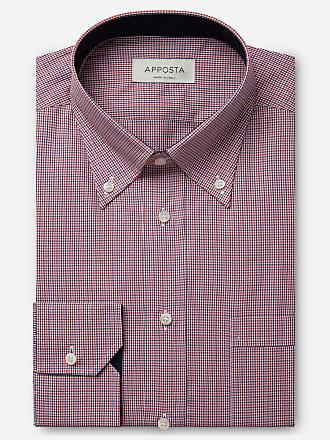 Apposta Camicia quadri grandi multi 100% puro cotone zephir, collo stile button down