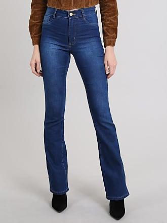 Sawary Calça Jeans Feminina Sawary Flare Azul Médio