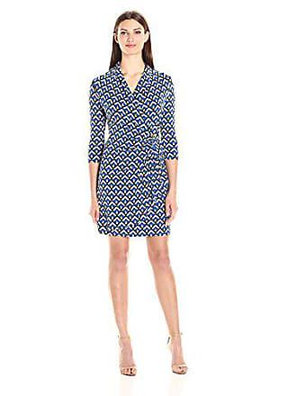 Karen Kane Womens Three-Quarter-Sleeve Cascade Wrap Dress, Blue Geo Print, L