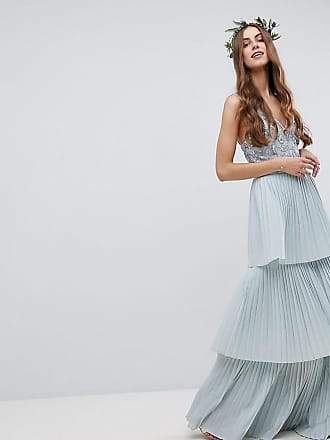 b5c8ec31dc Maya Floral Sequin Top Maxi Bridesmaid Dress With Tiered Ruffle Pleated  Skirt