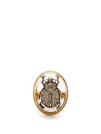 6b26357faf5 Alexander McQueen Bague à ornements cristaux et perles Scarab