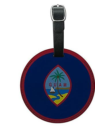 Graphics & More Graphics & More Guam National Country Flag Round Leather Luggage Id Tag Suitcase Carry-on, Black