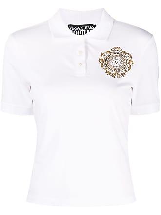 VERSACE JEANS COUTURE Coton Logo Brodé Blanc Polo Shirt