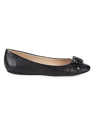 Karl Lagerfeld Viola Embellished Leather Ballerina Flats