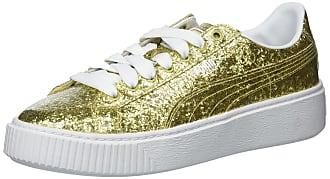 Puma Womens Basket Platform Glitter Wn, Gold-Gold, 6.5 M US