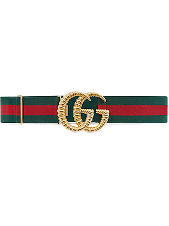 Gucci Cinto elástico Web com fivela Double G - Verde