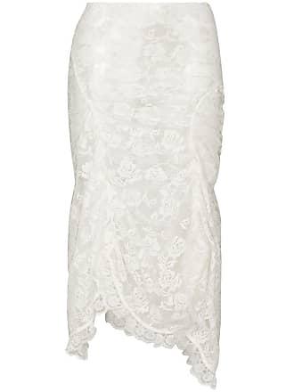 Yuhan Wang Camille ruched rose midi skirt - Branco