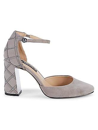 Karl Lagerfeld Gracyn Embellished Ankle-Strap Suede Pumps